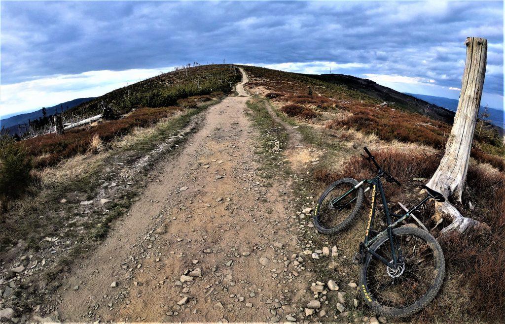 Zielony szlak ze Skrzycznego w stronę Malinowskiej Skały rowerem.