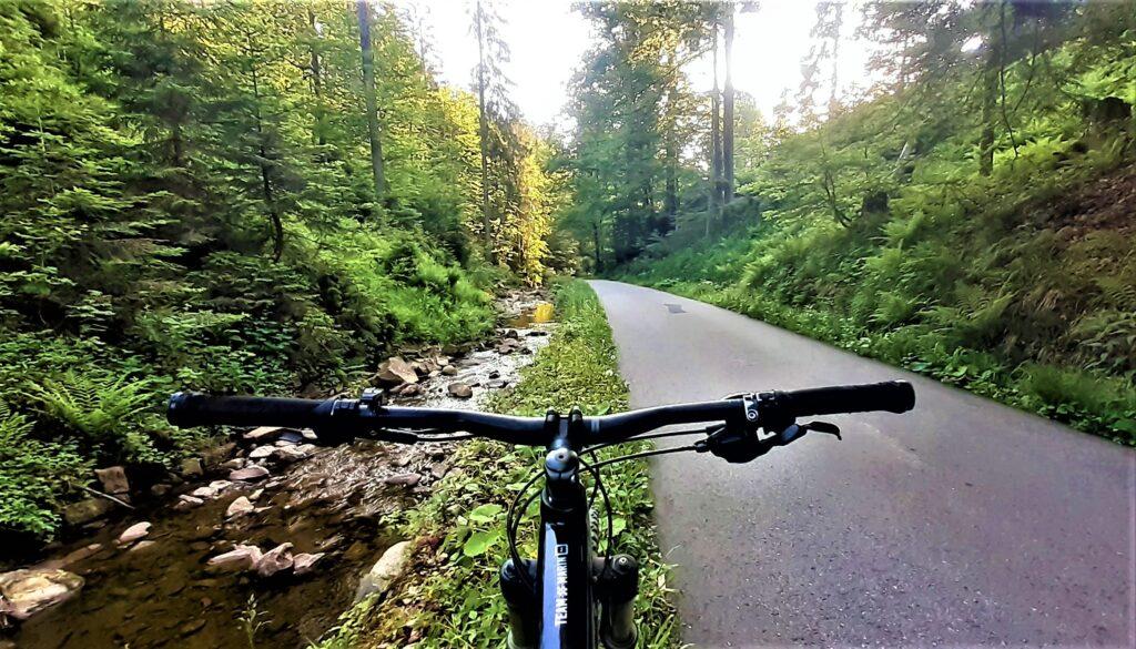 asfaltowa droga, zjazd do Wisły doliną Czarnej Wisełki